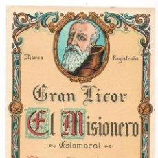 Etiquetas antiguas: ETIQUETA ANTIGUA BEBIDA GRAN LICOR EL MISIONERO HIJOS DE JOSÉ BAIXAULI BENETÚSER (VALENCIA. Lote 46484873