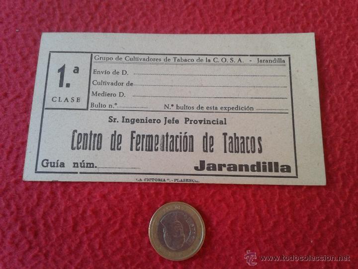 ANTIGUA ETIQUETA GUIA O SIMILAR DE CARTON CENTRO FERMENTACION TABACOS JARANDILLA CULTIVADORES COSA (Coleccionismo - Etiquetas)