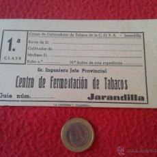 Etiquetas antiguas: ANTIGUA ETIQUETA GUIA O SIMILAR DE CARTON CENTRO FERMENTACION TABACOS JARANDILLA CULTIVADORES COSA. Lote 46526276