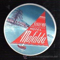 Etiquetas antiguas: ETIQUETA DEL HOTEL MAFALDA. SANREMO, ITALIA. 11CM DE DIAMETRO.. Lote 47198712