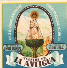 Étiquettes anciennes: ETIQUETA DULCE DE MEBRILLO-MERMELADA NTRA. SRA. LA ANTIGUA. ORDUÑA. SOBRINOS DE EMILIO LUENGAS. Lote 47737980