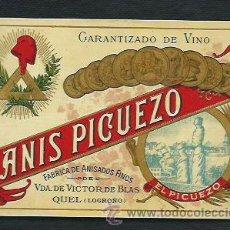 Etiquetas antiguas: ETIQUETA DE ANIS PICUEZO. 1931?.. Lote 47794895