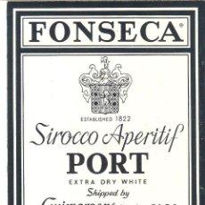 Etiquetas antigas: ETIQUETA DE VINO DE OPORTO , PORTUGAL, FONSECA SIROCCO, IMPECABLE. Lote 47876516