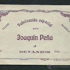 Etiquetas antiguas: ETIQUETA TELA. FABRICACIÓN ESPECIAL PARA JOAQUIN PEÑA. BETANZOS.. Lote 47914540