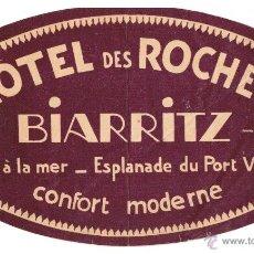 Etiquetas antiguas: ETIQUETA/PEGATINA HÔTEL DES ROCHES - BIARRITZ - AÑOS 50. Lote 48040389