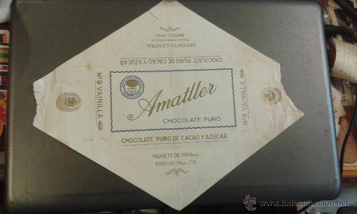 ENVOLTORIO CHOCOLATE AMATLLER. CHOCOLATE PURO DE CACAO Y AZUCAR. VAINILLA. BARCELONA. (Coleccionismo - Etiquetas)