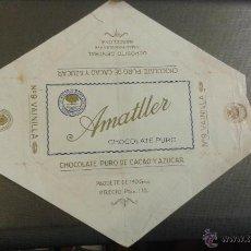 Etiquetas antiguas: ENVOLTORIO CHOCOLATE AMATLLER. CHOCOLATE PURO DE CACAO Y AZUCAR. VAINILLA. BARCELONA. . Lote 48160103