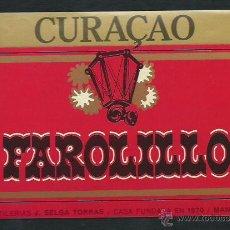 Etiquetas antiguas: ETIQUETA CURAÇAO FAROLILLO. J.TORRAS SELGAS. MANRESA.. Lote 48193027