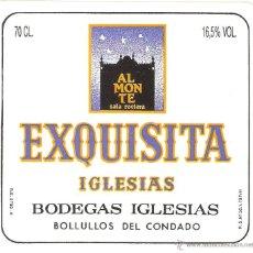 Etiquetas antiguas: HUELVA, ETIQUETA DE VINO, EXQUISITA, BOLULLOS DEL CONDADO , IMPECABLE. Lote 48201027