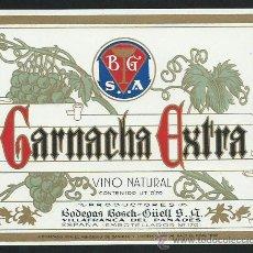 Etiquetas antiguas: ETIQUETA GARNACHA EXTRA. BODEGAS BOSCH I GUELL. VILAFRANCA DEL PANADES.. Lote 48295562