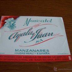 Etiquetas antiguas: MOSCATEL AYALA Y JUAN, S.A. MANZANARES (CIUDAD REAL) AÑOS 30. Lote 48314548