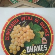Etiquetas antiguas: ANTIGUA ETIQUETA BARRILES DE UVAS OHANES ALMERIA 27,5CM DE DIÁMETRO - ORIGINAL -. Lote 48321564