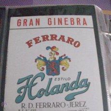 Alte Etiketten - ETIQUETA GRAN GINEBRA FERRARO ESTILO HOLANDA - 48439383