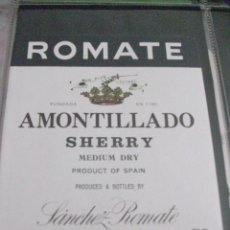 Etiquetas antiguas: ETIQUETA AMONTILLADO SHERRY MEDIUM DRY. Lote 48491900
