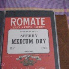 Etiquetas antiguas: ETIQUETA JEREZ -XERES -SHERRY MEDIM DRY. Lote 48490629