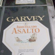 Etiquetas antiguas: ETIQUETA AMONTILLADO ASALTO MEDIUM DRY SHERRY GARVEY. Lote 48503938