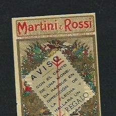 Etiquetas antiguas: MARTINI & ROSSI. ETIQUETA CON REGALO.. Lote 48643873