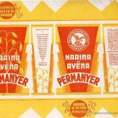 Etiquetas antiguas: ETIQUETA HARINA DE AVENA PERMANYER BARCELONA 18 X 24 CM . Lote 48757185