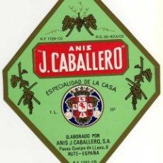 Etiquetas antiguas: ETIQUETA ANIS J. CABALLERO - RUTE (CORDOBA). Lote 49057424