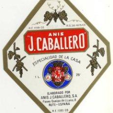 Etiquetas antiguas: ETIQUETA ANIS J. CABALLERO - RUTE (CORDOBA). Lote 49057468