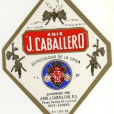 Etiquetas antiguas: ETIQUETA ANIS J. CABALLERO - RUTE (CORDOBA). Lote 49057499