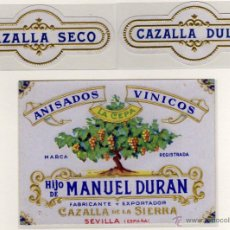 Etiquetas antiguas: PRECIOSA ETIQUETA - ANISADOS VINICOS (ANIS) - HIJO DE MANUEL DURAN - CAZALLA (SEVILLA). Lote 49263442