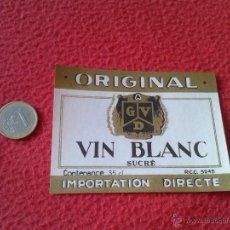 Etiquetas antiguas: ESCASA ETIQUETA LABEL VINO LICOR O SIMILAR DE FRANCIA ? ORIGINAL GDV VIN BLANC SUCRE IDEAL COLECCION. Lote 49318740