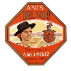 Etiquetas antiguas: ETIQUETA DE ANIS.PUERTO DE SANTA MARIA.. Lote 49467301