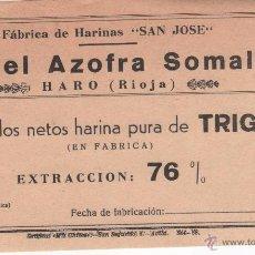 Etiquetas antiguas: ANTIGUA ETIQUETA FÁBRICA DE HARINAS ANGEL AZOFRA SOMALO. HARO ( LA RIOJA ). Lote 49890680