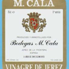 Etiquetas antiguas: ETIQUETA DE VINAGRE.JEREZ DE LA FRONTERA.. Lote 50108783