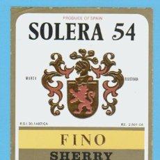 Etiquetas antiguas: ETIQUETA DE VINO.JEREZ DE LA FRONTERA.. Lote 50108802