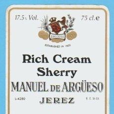 Etiquetas antiguas: ETIQUETA DE VINO.JEREZ DE LA FRONTERA.. Lote 50108822