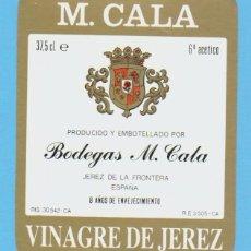 Etiquetas antiguas: ETIQUETA DE VINAGRE.JEREZ DE LA FRONTERA.. Lote 50109010
