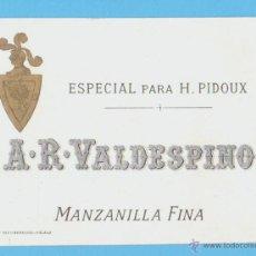Etiquetas antiguas: ETIQUETA DE VINO.JEREZ DE LA FRONTERA.. Lote 50109065