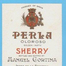 Etiquetas antiguas: ETIQUETA DE VINO.JEREZ DE LA FRONTERA.. Lote 50109123
