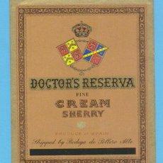 Etiquetas antiguas: ETIQUETA DE VINO.JEREZ DE LA FRONTERA.. Lote 50109175