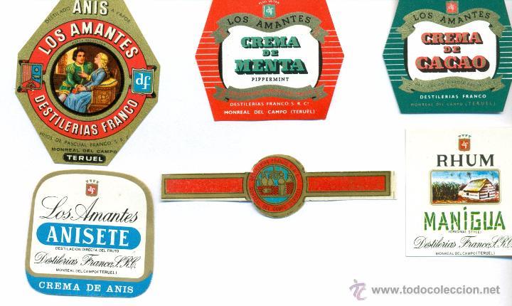 MONREAL DEL CAMPO.DESTILERIAS PASCUAL FRANCO ETIQUETAS BOTELLAS (Coleccionismo - Etiquetas)
