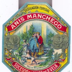 Etiquetas antiguas: ANTIGUA ETIQUETA DE ANIS MANCHEGO, QUINTANAR DE LA ORDEN, MUY RARA. Lote 50491960