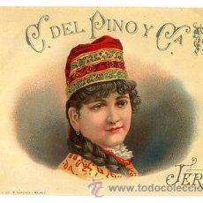 Étiquettes anciennes: ETIQUETA JEREZ C. DEL PINO Y CIA. CIRCA 1920. TIP. Y LIT. R. PARRAGA - MALAGA. Lote 50533066