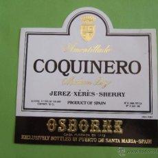 Etiquetas antiguas: ETIQUETA - AMONTILLADO COQUINERO - MEDIUM DRY - JEREZ SHERRY OSBORNE. Lote 50763710