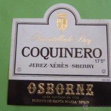 Etiquetas antiguas: ETIQUETA - AMONTILLADO DRY COQUINERO - JEREZ SHERRY 17,5 º - OSBORNE. Lote 50763720