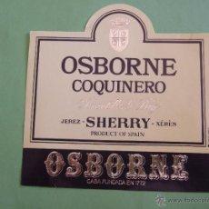 Etiquetas antiguas: ETIQUETA - OSBORNE COQUINERO - AMONTILLADO DRY - JEREZ SHERRY OSBORNE. Lote 50763755