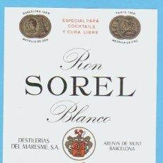 Etiquetas antiguas: ETIQUETA DE RON.ARENYS DE MUNT.BARCELONA.. Lote 50794640