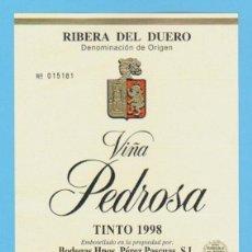 Etiquetas antiguas: ETIQUETA DE VINO.RIBERA DEL DUERO.. Lote 50884811