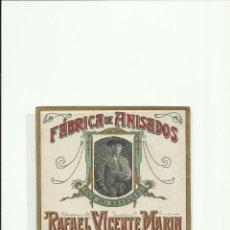 Etiquetas antiguas: ETIQUETA DE ANIS.FABRICA DE ANISADOS RAFAEL VICENTE MARIN (14,50X14).. Lote 50944349