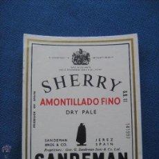Etiquetas antiguas: ETIQUETA DE VINO - BODEGAS SANDEMAN - JEREZ - DRY PALE SHERRY - AMONTILLADO FINO. Lote 51030996