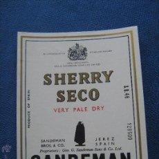 Etiquetas antiguas: ETIQUETA DE VINO - BODEGAS SANDEMAN - JEREZ - SHERRY SECO VERY PALE DRY. Lote 51031021