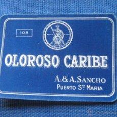 Etiquetas antiguas: ETIQUETA DE VINO PEQUEÑA - 7.5X6 CM - BOTELLIN - BODEGAS SANCHO - PTO STA. MARIA - OLOROSO CARIBE. Lote 96125352