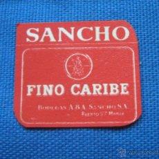 Etiquetas antiguas: ETIQUETA PEQUEÑA BOTELLIN - FINO CARIBE - BODEGAS SANCHO - PUERTO DE SANTA MARIA . Lote 96125392