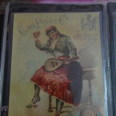 Etiquetas antiguas: ETIQUETA CON INSTRUMENTOS MUSICALES MUJER C.DEL PINO Y CIA JEREZ. Lote 51445858